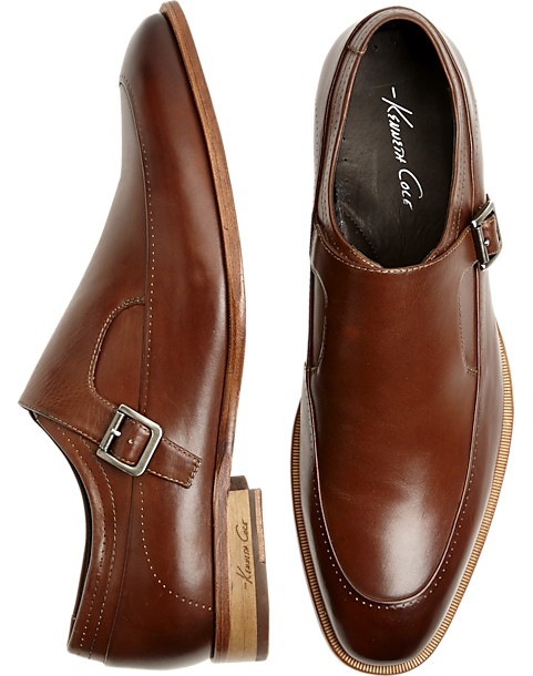 Kenneth Cole T-Rack Record Tan Monk Strap Dress Shoes - Mens Dress Shoes,