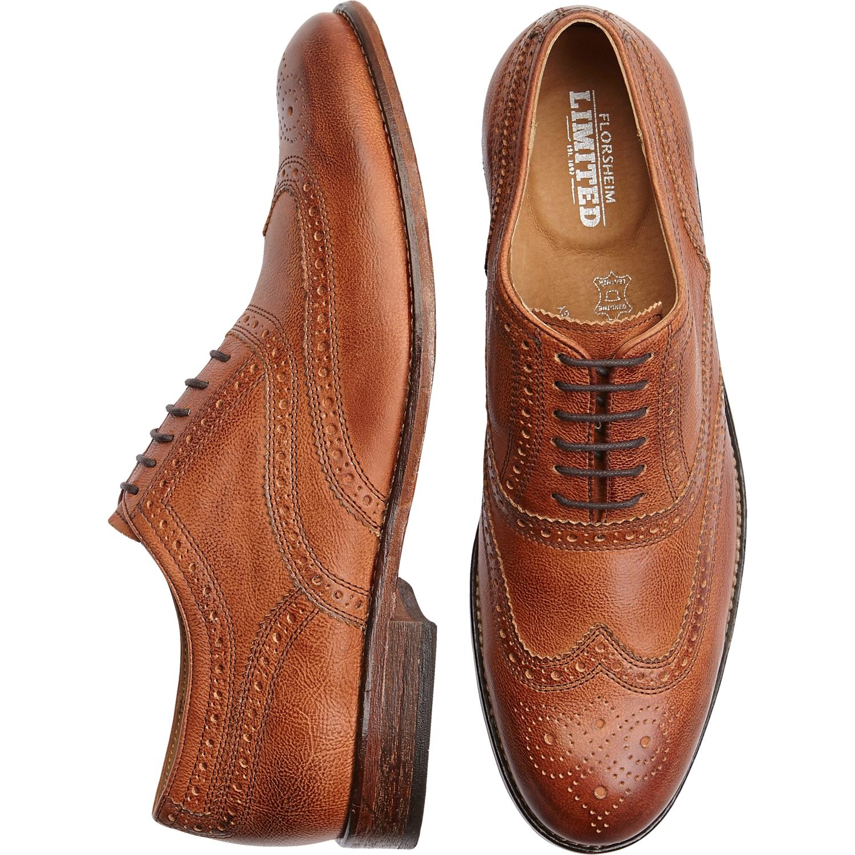 Florsheim Tierney Tan Wingtip Shoes - Men's Dress Shoes | Men's ...