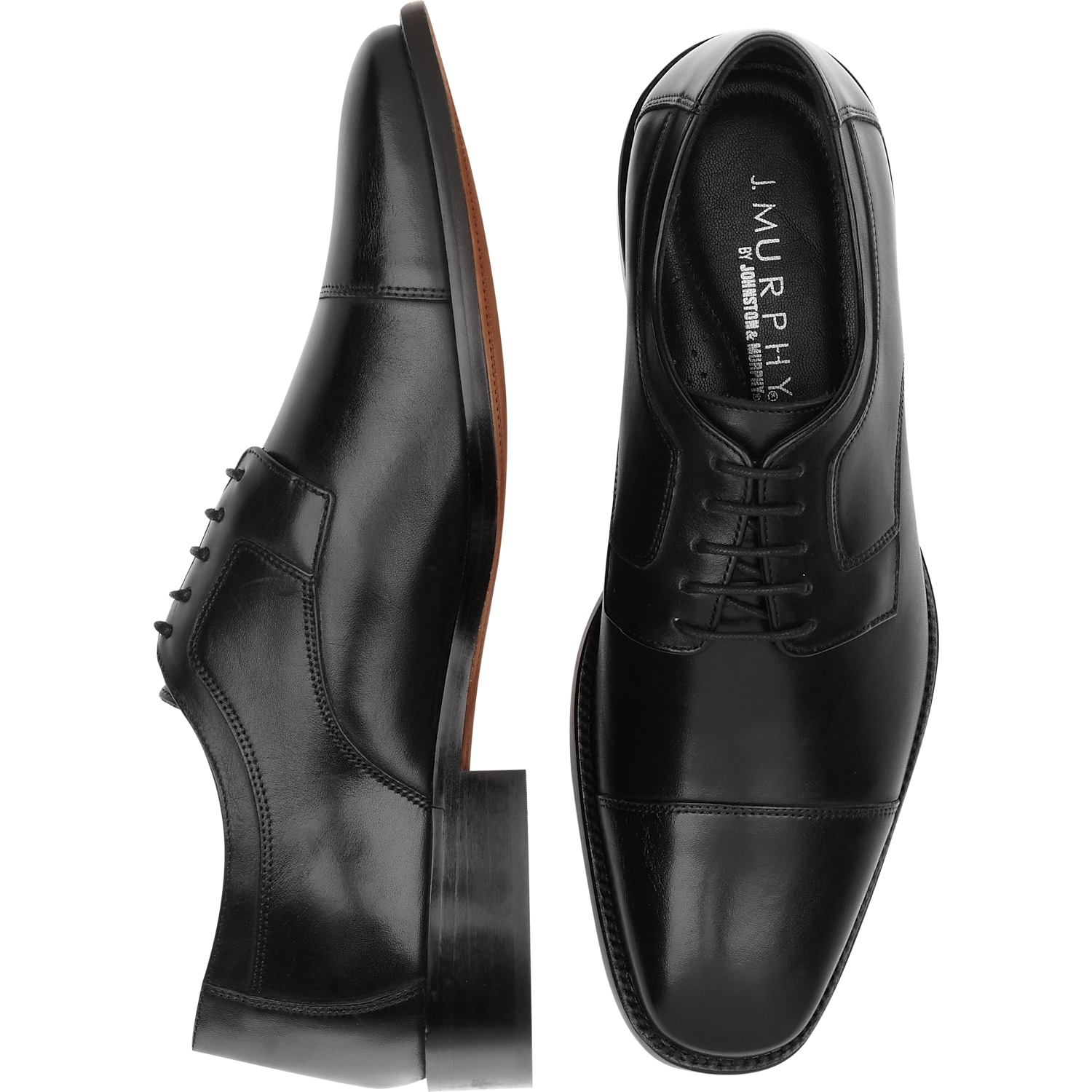 J. Murphy by Johnston & Murphy Novick Black Cap Toe Lace Up Shoes ...