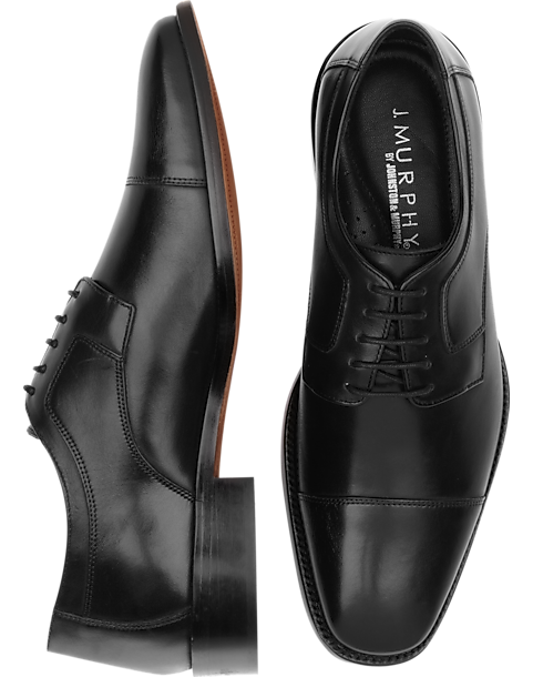 J. Murphy by Johnston & Murphy Novick Black Cap Toe Lace Up Shoes - Mens