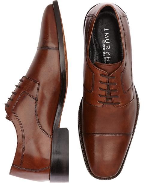 J. Murphy by Johnston & Murphy Novick Brown Cap Toe Lace Up Shoes - Mens