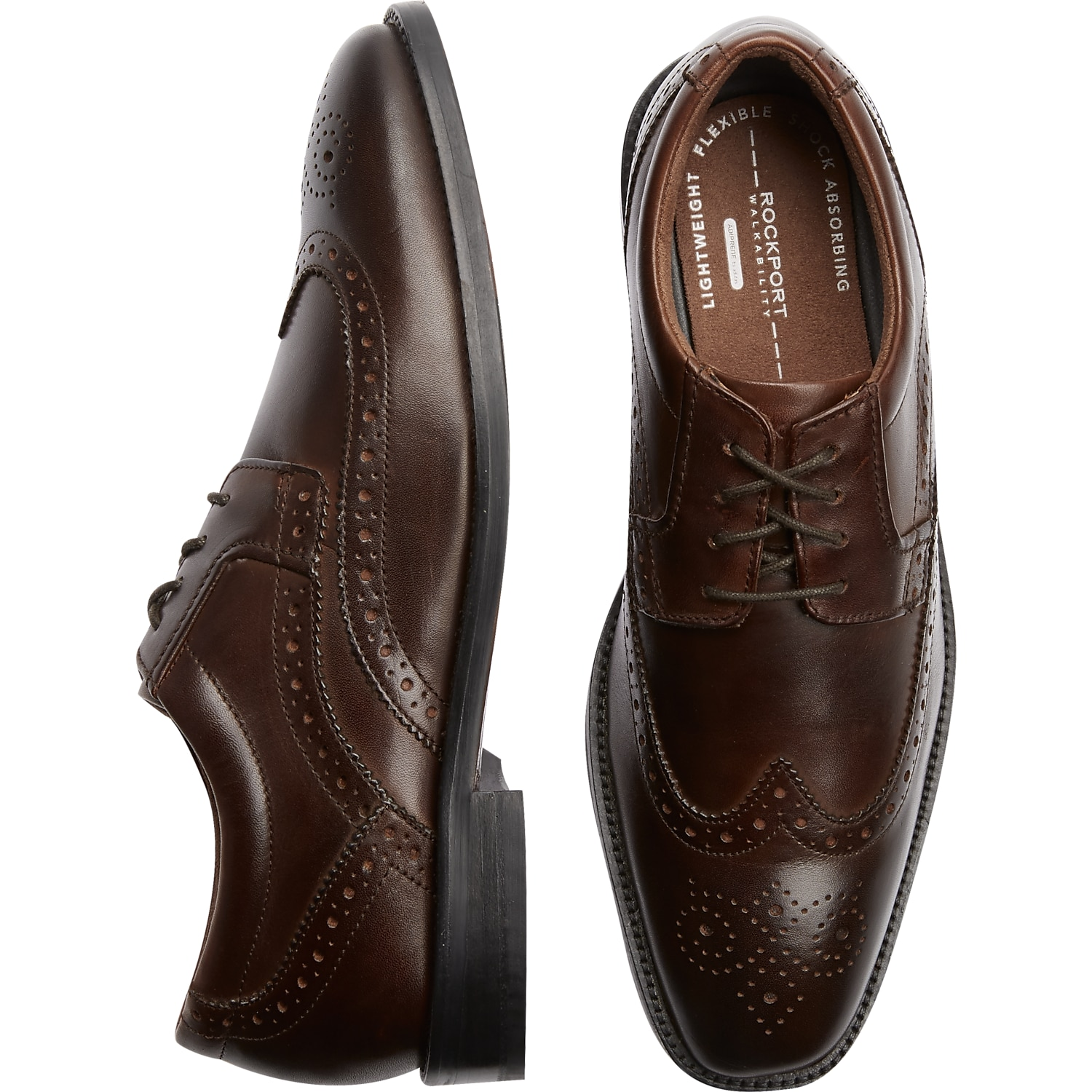 Mens Rockport, Brands - Rockport Smart Cover Brown Wingtip Shoes - Men's  Wearhouse
