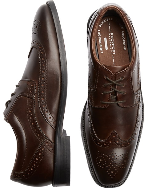 Rockport Smart Cover Brown Wingtip Shoes - Mens Dress Shoes, Shoes - Men's  Wearhouse