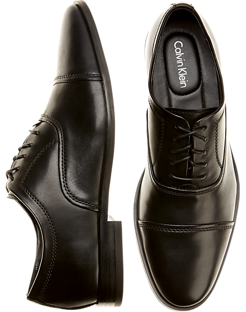 d1a2fa1e9ab Calvin Klein Nino Black Cap-Toe Dress Shoes - Men's Shoes | Men's Wearhouse