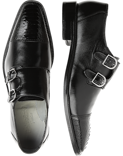 e70a8e5dc51e9 Belvedere Amico Black Double Monk Strap Shoes