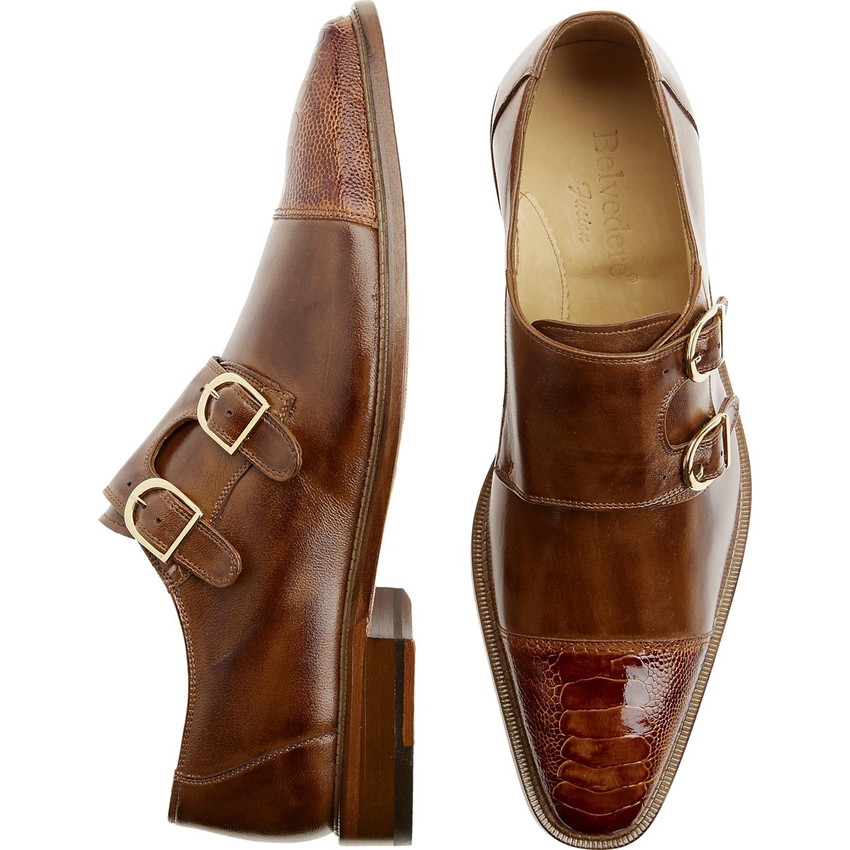 Belvedere Amico Tan Monk Strap Shoes Mens Dress Shoes