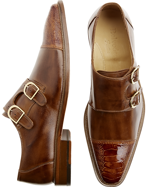 e904ec28e127f Belvedere Amico Tan Monk-Strap Shoes - Men s Shoes