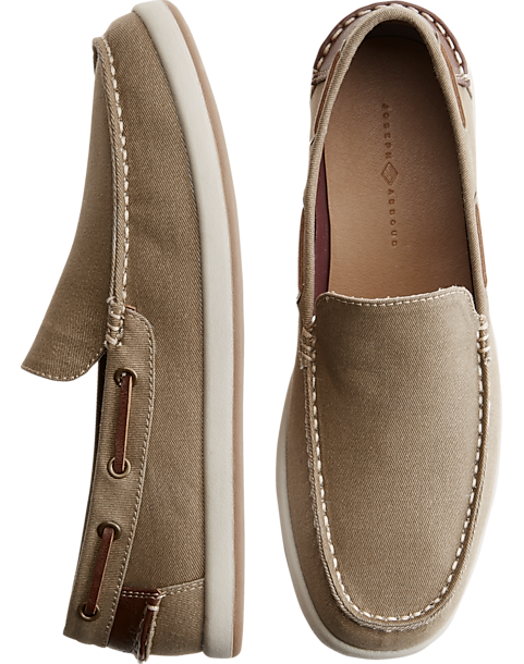 Joseph Abboud Ivan Tan Canvas Boat Shoes