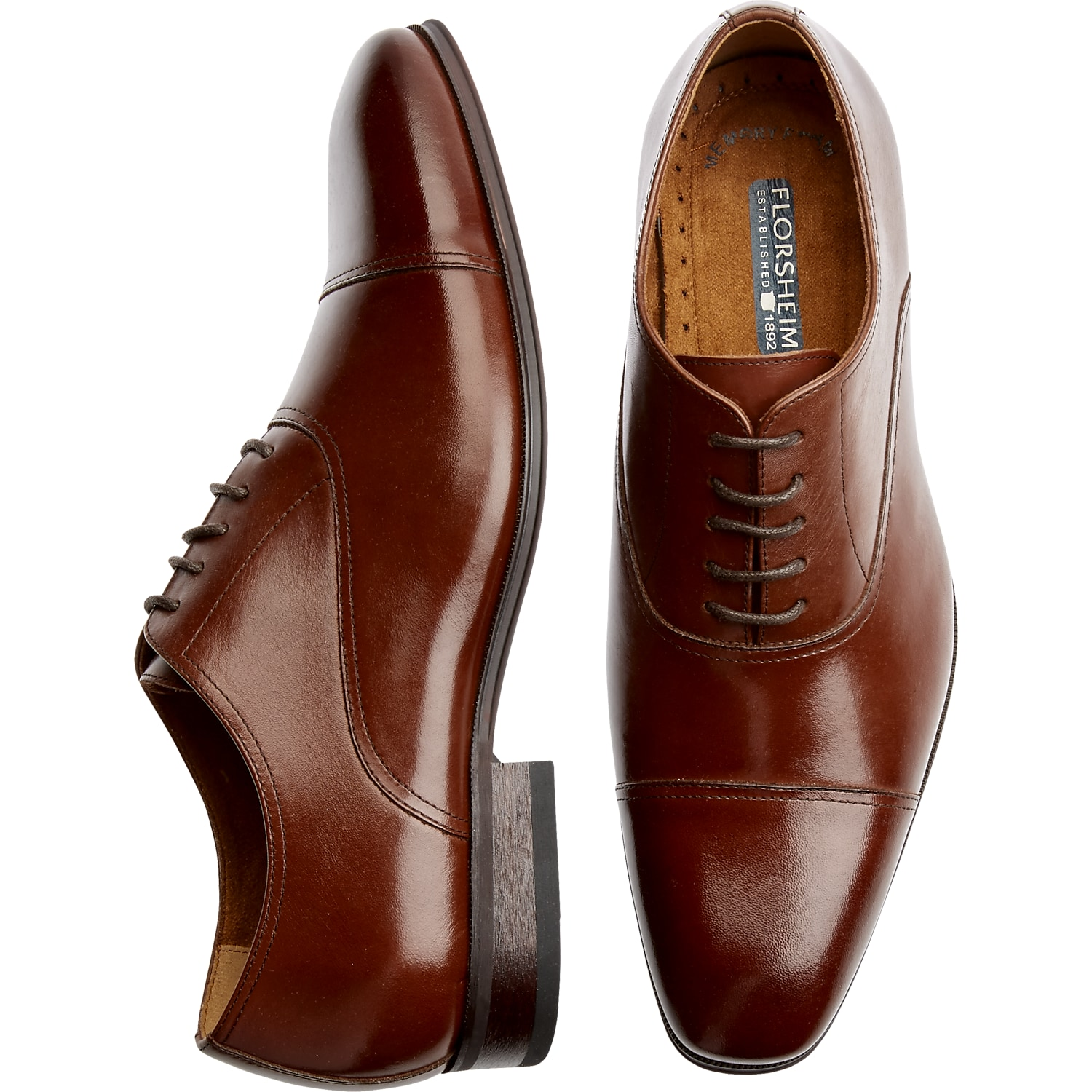 Mens Shoes - Florsheim Francisco Cognac Cap-Toe Oxfords - Men's Wearhouse