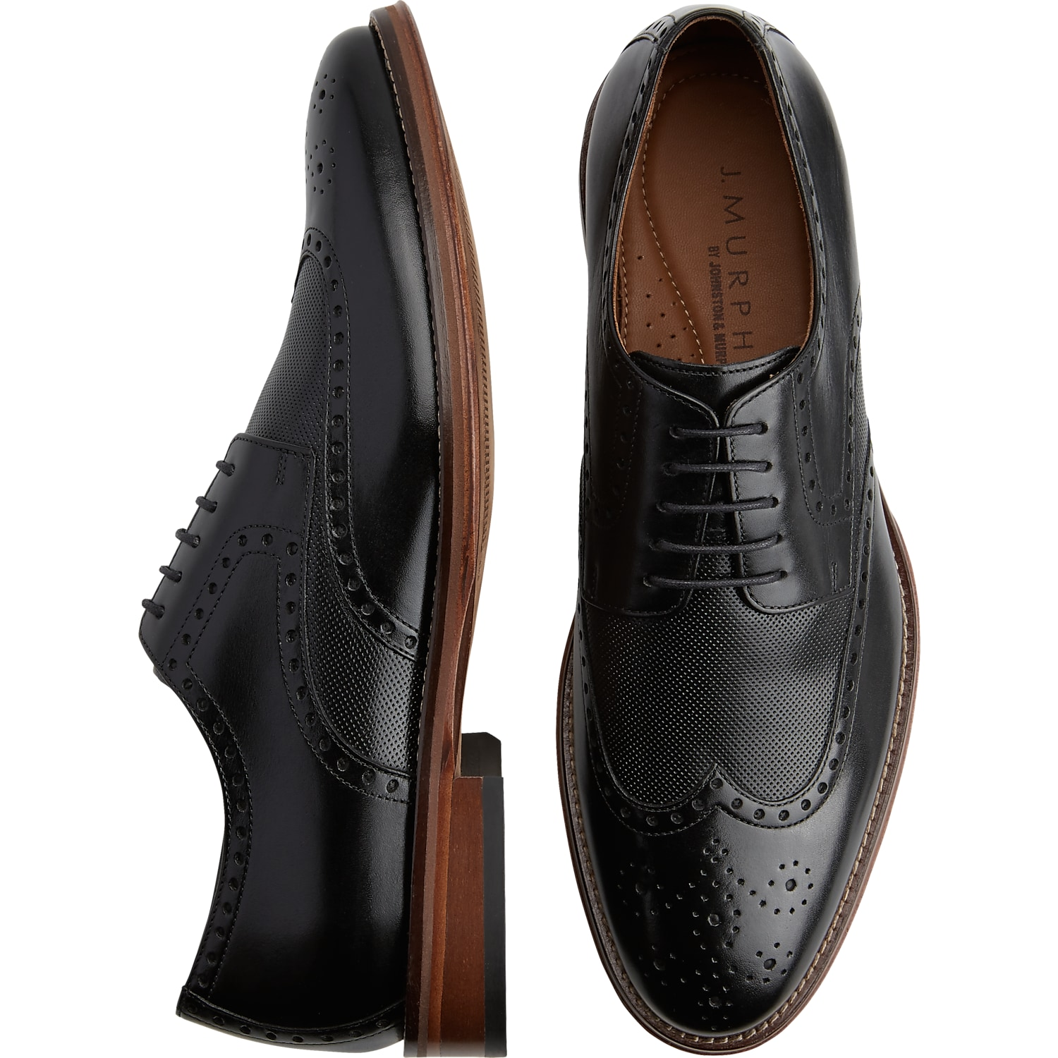 Mens Shoes - J. Murphy by Johnston & Murphy Hughes Black Wingtip Oxfords -  Men's
