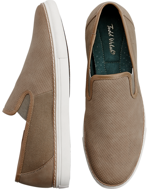 Todd Welsh Eastman Tan Canvas Slip-On Shoes - Mens Home - Men's Wearhouse