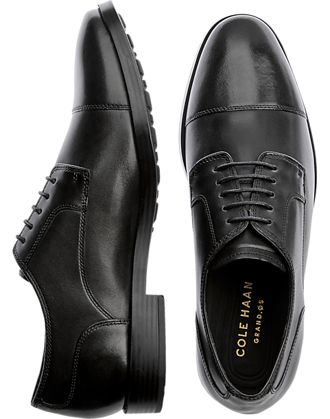 Cole Haan Jay Grand Black Cap Toe Oxfords - Mens Dress Shoes, Shoes - Men's
