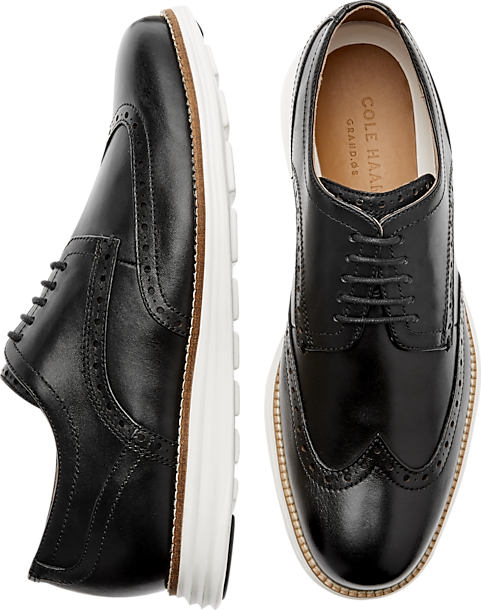 3709eb45b2e30 Cole Haan Grand Shortwing Black Wingtip Oxfords