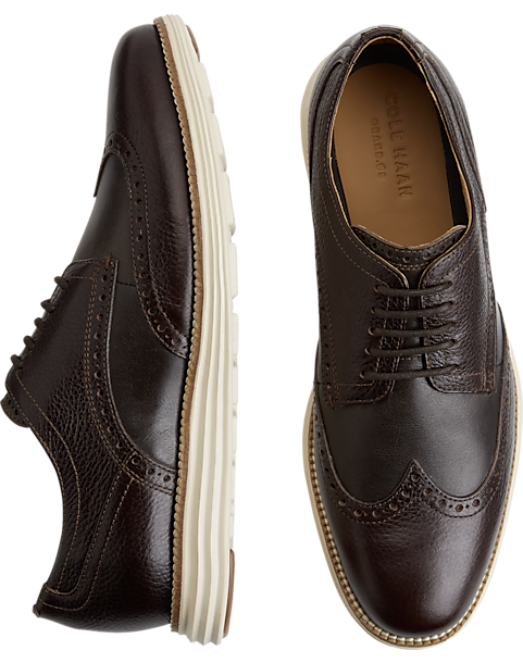 Cole Haan Grand Shortwing Brown Wingtip Oxfords - Mens Casual Shoes, Shoes  - Men's Wearhouse