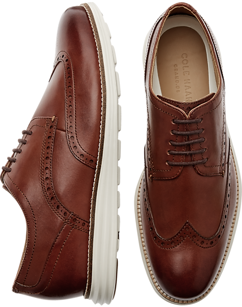 Cole Haan Grand Shortwing Cognac Wingtip Oxfords - Mens Casual Shoes, Shoes  - Men's Wearhouse