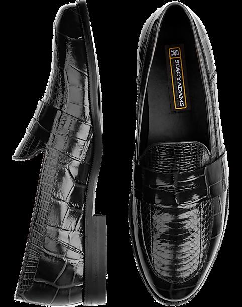 bbcf23c240f Stacy Adams Black Snakeskin Penny Loafers - Men s Shoes