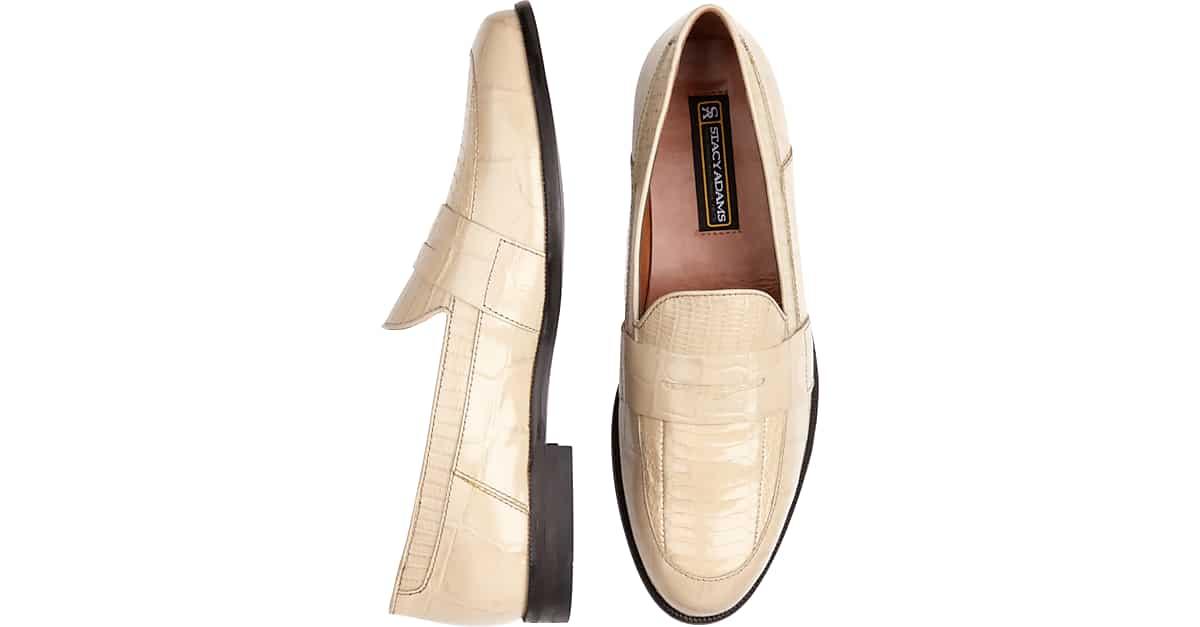 e8b4f3d902c Stacy Adams Bone Snakeskin Penny Loafers - Men s Shoes