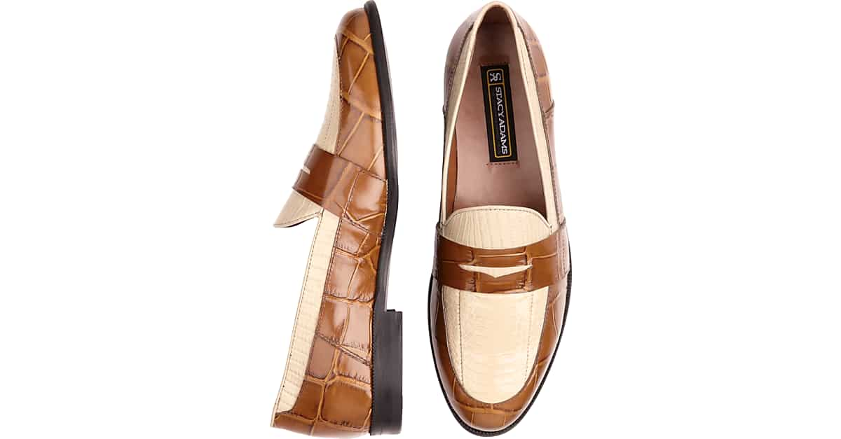 9ed199800b1 Stacy Adams Tan Snakeskin Penny Loafers - Men s Shoes