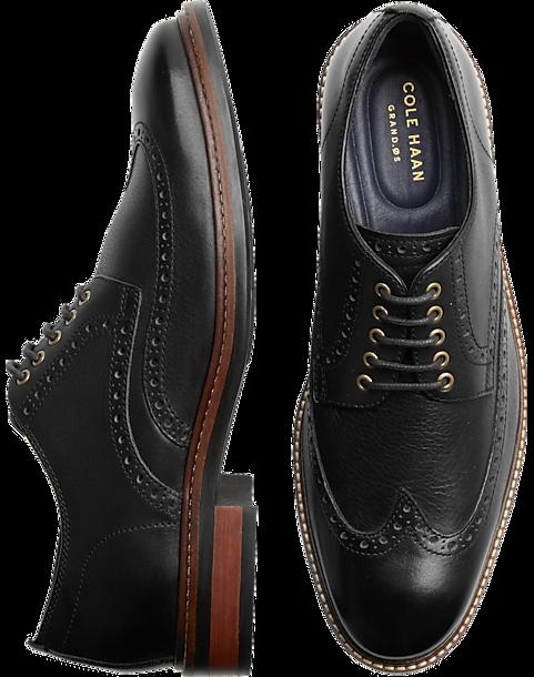 Cole Haan Watson Black Wingtip Oxfords - Mens Dress Shoes, Shoes - Men's  Wearhouse