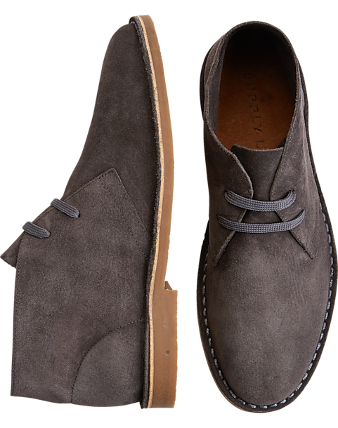 Supply Lab Beau Gray Suede Chukka Boots - Mens Home - Men's Wearhouse