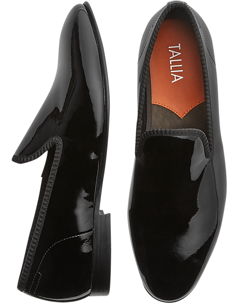 7ce077be5bc Tallia Emilio Black Patent Slip-On Formal Shoes - Men's Shoes | Men's  Wearhouse
