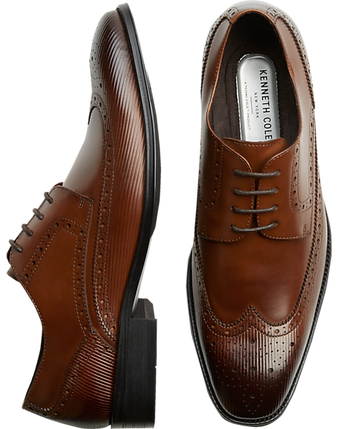 Kenneth Cole TECHNI-COLE Cognac Wingtip Oxfords - Men s Shoes ... 4d765f2af