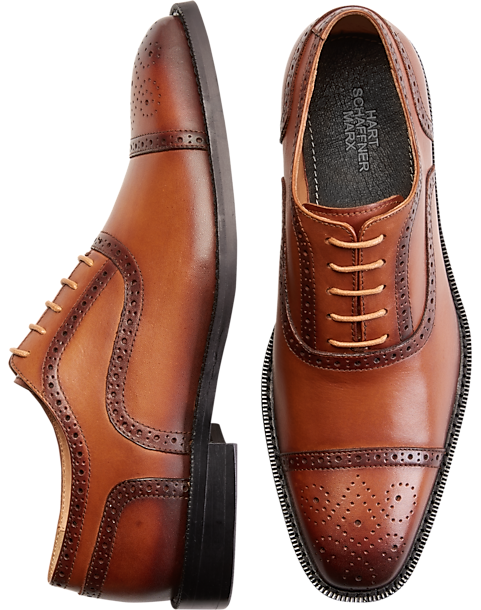 Hart Schaffner Marx Richmond Tan Cap Toe Oxfords