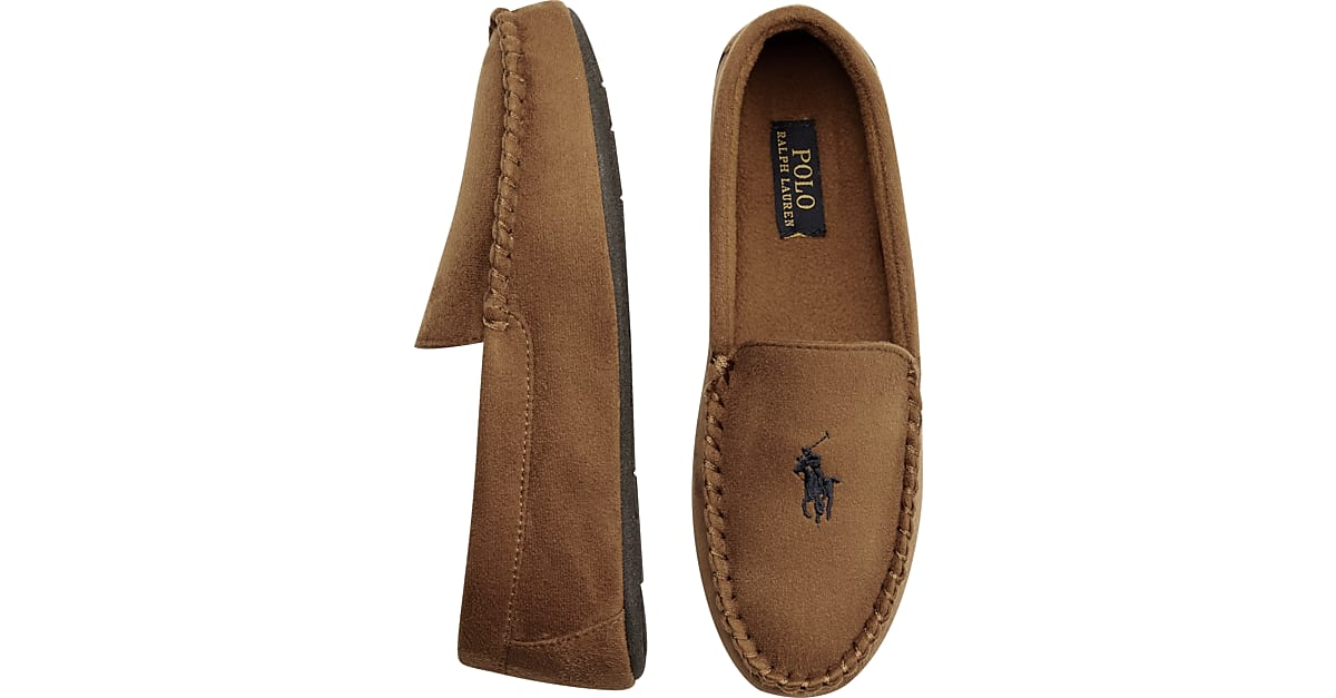 Polo Ralph Lauren Dezi II Tan Moccasin Slippers - Men's Shoes | Men's Wearhouse