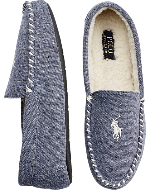 e195e0f2 Polo Ralph Lauren Dezi II Chambray Moccasin Slippers - Men's Shoes | Men's  Wearhouse