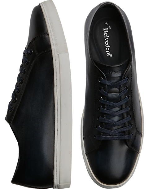 Belvedere James Navy Leather Sneakers - Men s Shoes  02c35ae88e8e