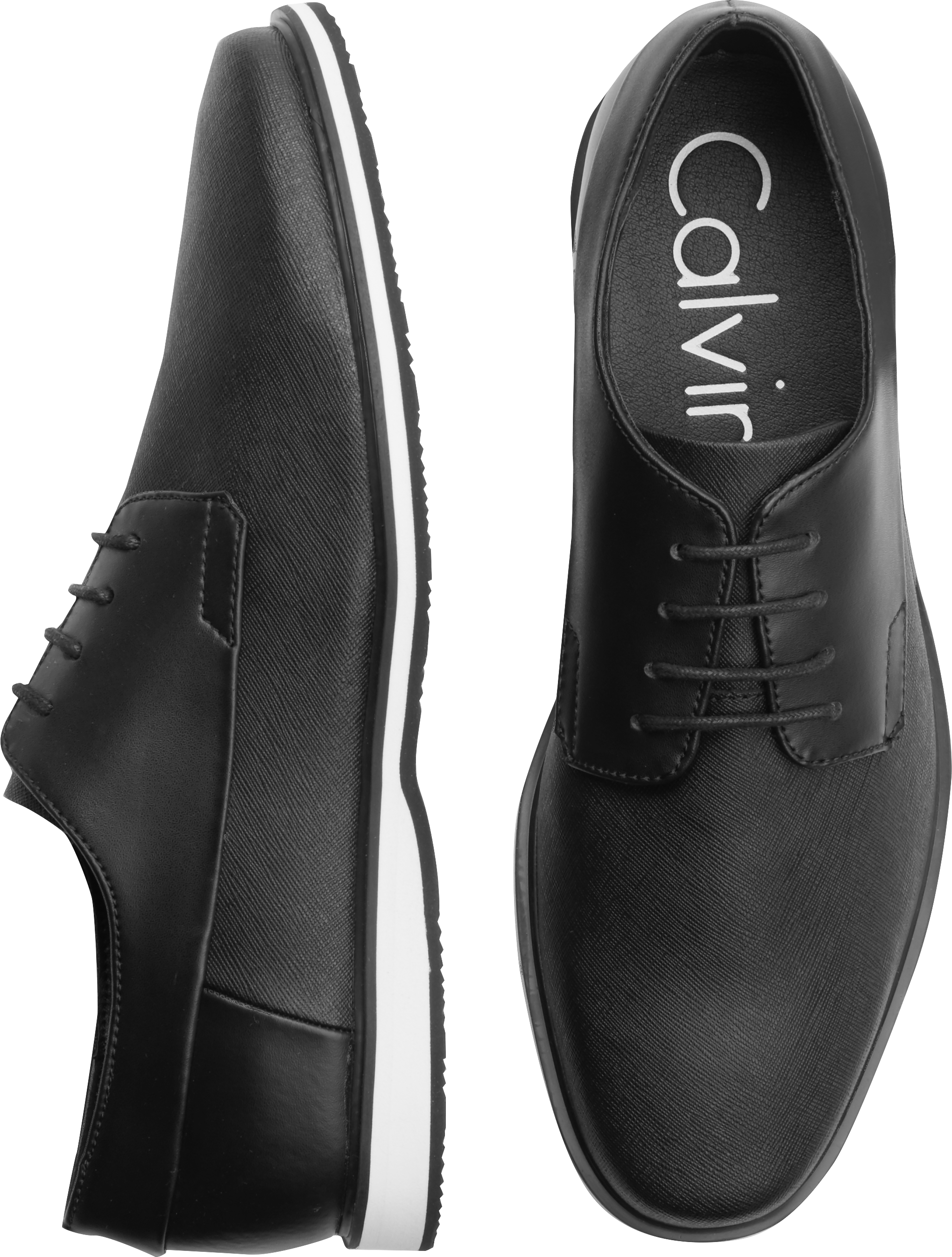 Mens Calvin Klein Will Oxfords Shoes Navy Leather ROF77525