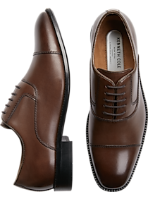 Kenneth Cole Techni-Cole Dice Brown Cap-Toe Oxfords