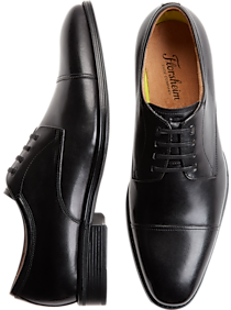 Florsheim Caputo Black Mens Cap-Toe Derbys