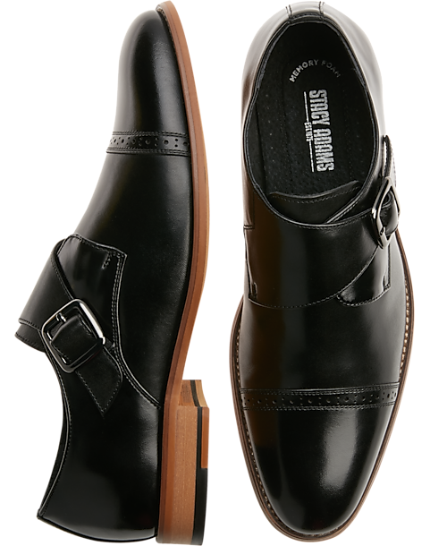 f570010f803 Stacy Adams Desmond Black Cap-Toe Monk Straps - Men s Shoes
