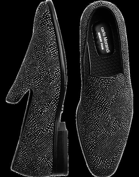 184147f2703fd Carlo Morandi Black Velvet Silver Sparkle Slip-On Smoking Shoes