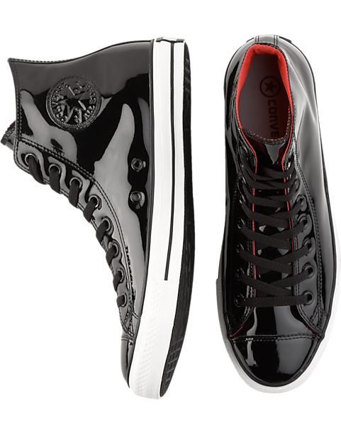 converse mens. converse black patent leather high-top tennis shoes - mens casual shoes, e