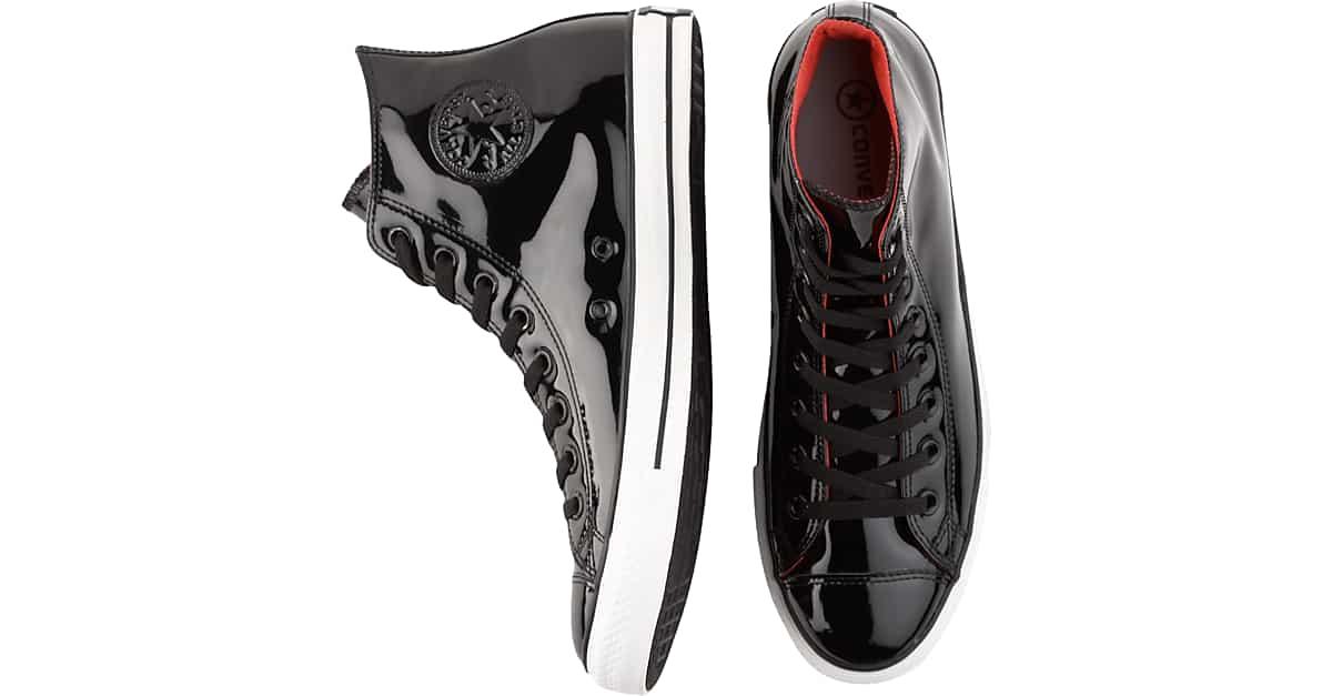 7c10202c Black Patent Leather High-Top Tennis Shoes - Men's Casual Shoes ...