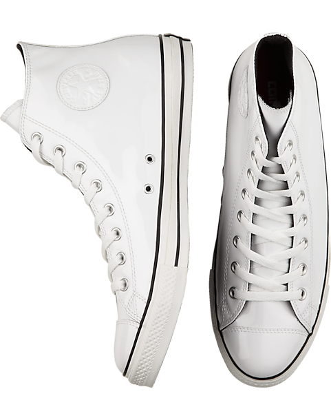 Converse White Patent High Top Tennis Shoes