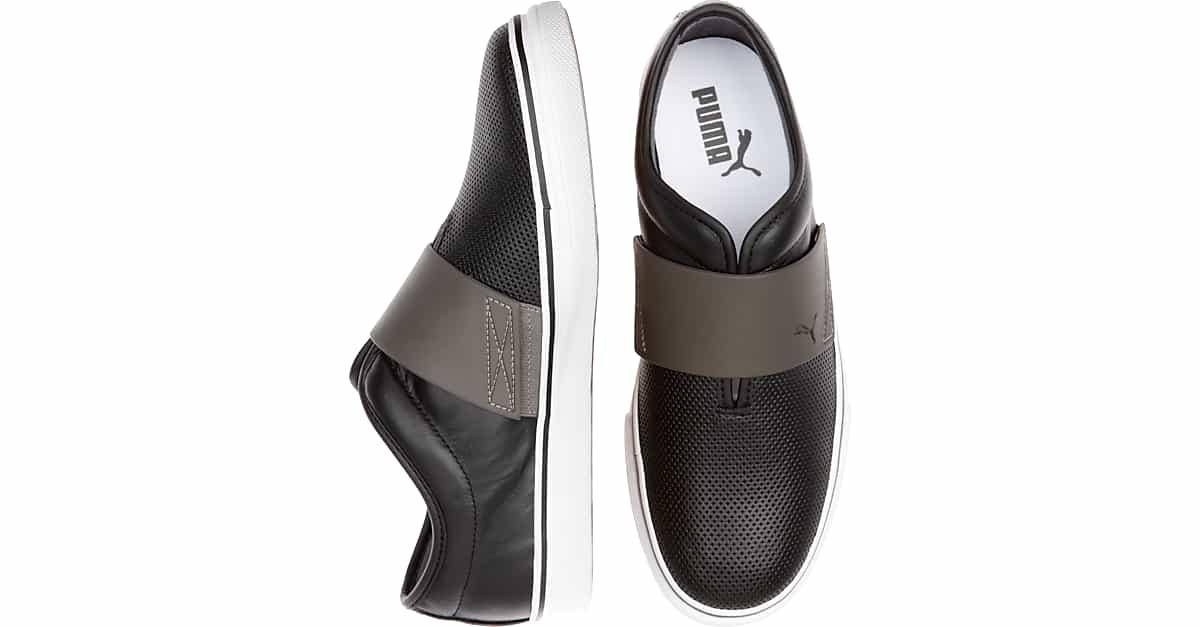 Puma El Rey Black and Gray Casual Slip Ons Men's Shoes | Men's Wearhouse