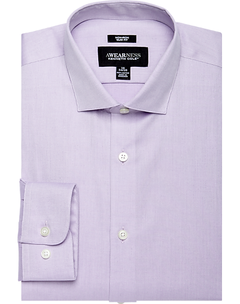 Mens Slim Fit Purple Striped Spread Collar Cotton Blend Dress Shirt