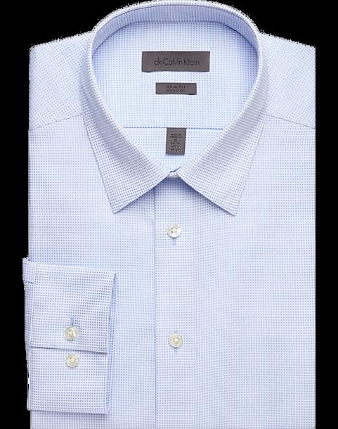 Calvin Klein Light Blue Check Slim Fit Non Iron Dress Shirt Mens