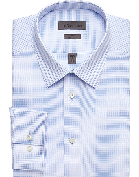 f3e5f98dc6a6 Calvin Klein Light Blue Check Slim Fit Non-Iron Dress Shirt - Men's ...
