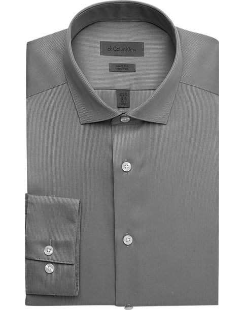 d523193417c4 Calvin Klein Gray Slim Fit Non-Iron Dress Shirt - Men s Shirts ...