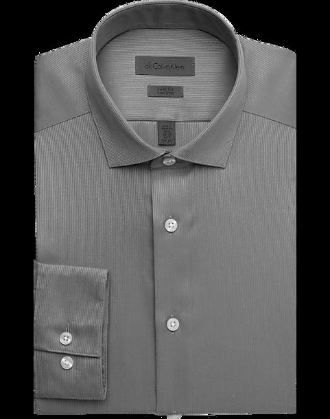 594ca28e8726c Calvin Klein Gray Slim Fit Non-Iron Dress Shirt - Men s Shirts ...