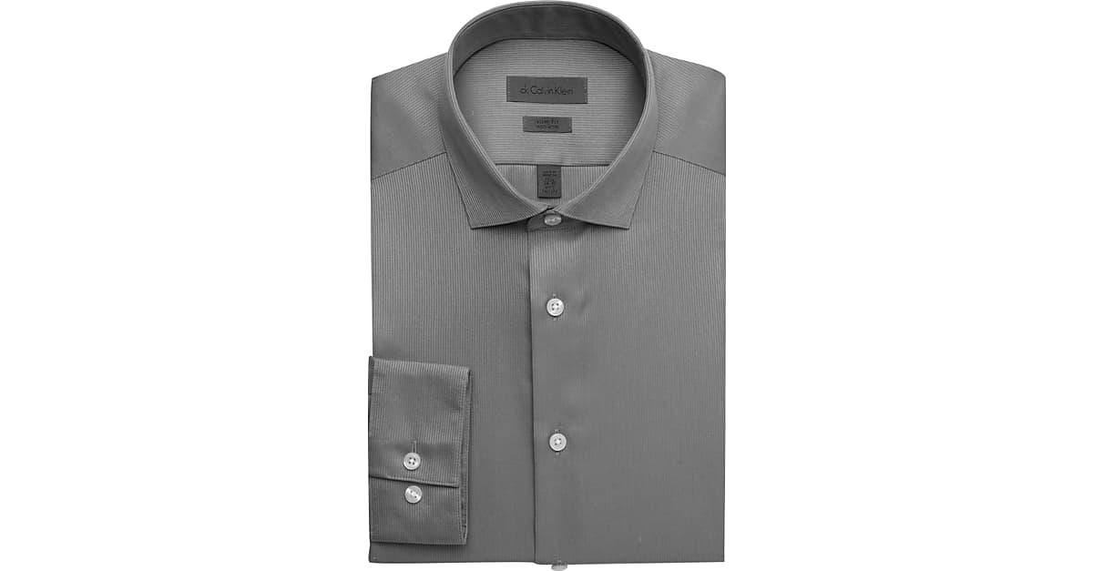 ed4c60662 Calvin Klein Gray Slim Fit Non-Iron Dress Shirt - Men s Shirts ...