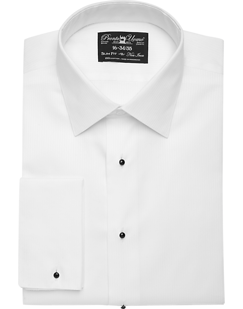 Pronto Uomo White Slim Fit Tuxedo Shirt Mens Formal Shirts