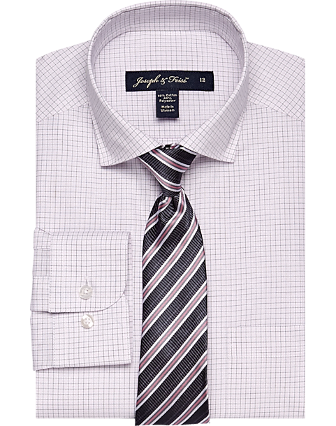 Joseph & Feiss Boys Pink Check Shirt & Stripe Tie Set - Men's Boys ...