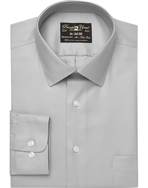 50c549992ac Pronto Uomo Gray Non-Iron Dress Shirt - Mens Home - Men s Wearhouse
