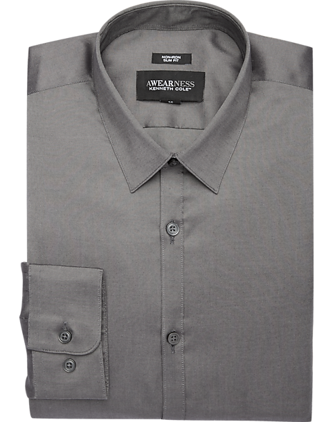 Awearness Kenneth Cole Charcoal Slim Fit Dress Shirt Men