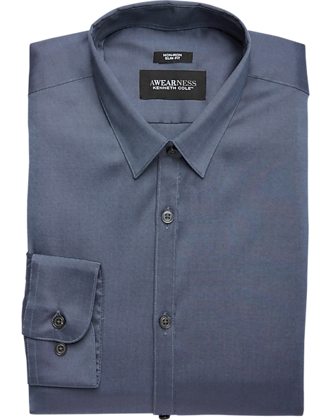 Awearness Kenneth Cole Navy Slim Fit Dress Shirt